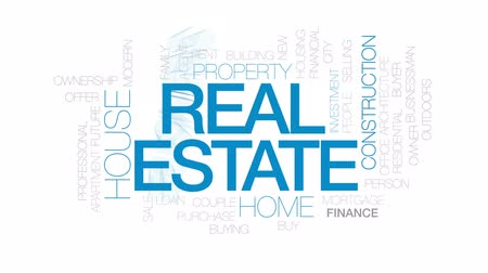 properties : Real estate animated word cloud, text design animation. Kinetic typography. Stock Footage