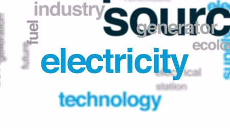 sustainable resources : Power source animated word cloud, text design animation.