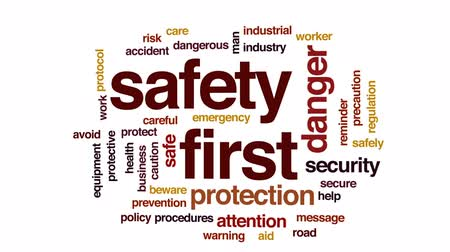 önlemek : Safety first animated word cloud, text design animation.
