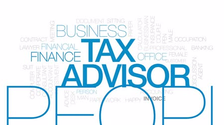 attorney : Tax advisor animated word cloud, text design animation. Kinetic typography. Stock Footage