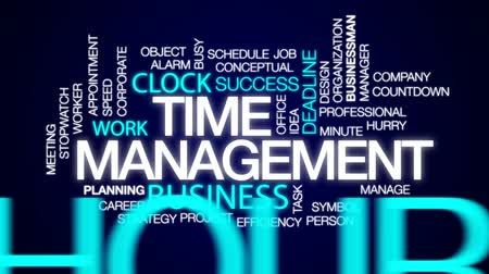 minute : Time management animated word cloud, text design animation.