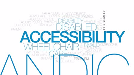 physically : Accessibility animated word cloud, text design animation. Kinetic typography.
