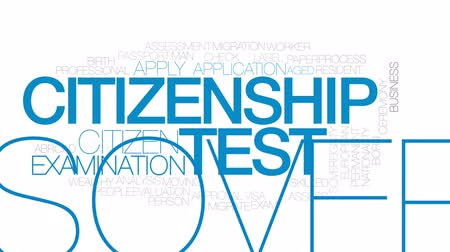 cidadão idoso : Citizenship test animated word cloud, text design animation. Kinetic typography.