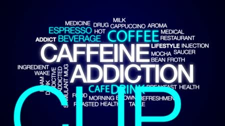 kufel : Caffeine addiction animated word cloud, text design animation.