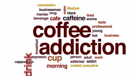 maniac : Coffee addiction animated word cloud, text design animation. Stock Footage
