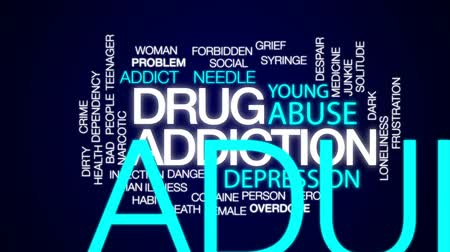 aşırı doz : Drug addiction animated word cloud, text design animation.