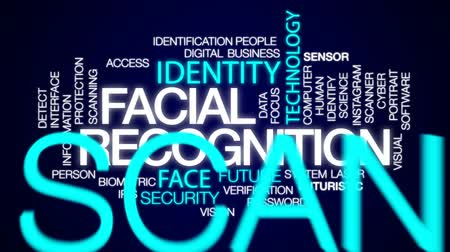 reconhecimento : Facial recognition animated word cloud, text design animation.