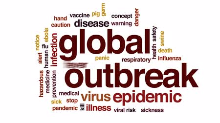 febre : Global outbreak animated word cloud, text design animation.