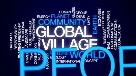 harmonie : Global village animated word cloud, text design animation.