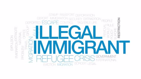 refugee crisis : Illegal immigrant animated word cloud, text design animation. Kinetic typography.