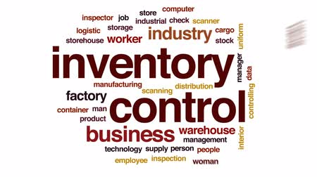 осмотр : Inventory control animated word cloud, text design animation.