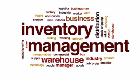 jelölőnégyzetet : Inventory management animated word cloud, text design animation. Stock mozgókép