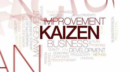 yöntem : Kaizen animated word cloud, text design animation. Kinetic typography. Stok Video