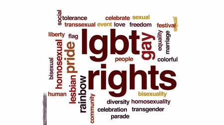 солидарность : LGBT rights animated word cloud, text design animation.