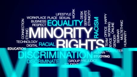 minority group : Minority rights animated word cloud, text design animation.