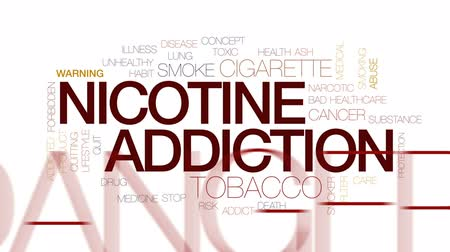 abuso : Nicotine addiction animated word cloud, text design animation. Kinetic typography. Stock Footage