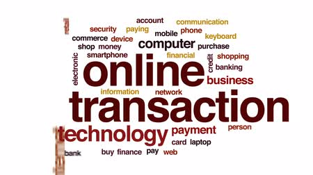 bankacılık : Online transaction animated word cloud, text design animation.