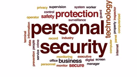 щит : Personal security animated word cloud, text design animation. Стоковые видеозаписи