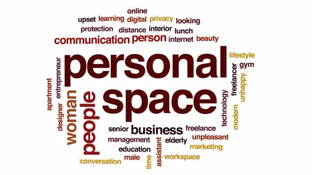 looking distance : Personal space animated word cloud, text design animation.