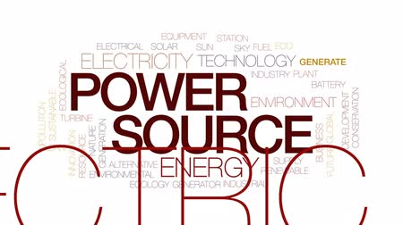 żródło : Power source animated word cloud, text design animation. Kinetic typography.
