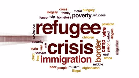 göç : Refugee crisis animated word cloud, text design animation.