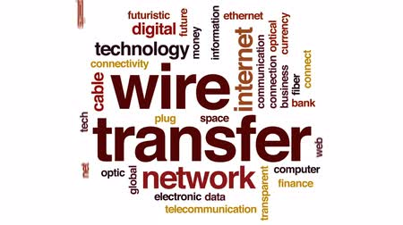büyük ağ : Wire transfer animated word cloud, text design animation. Stok Video