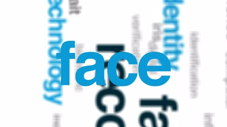 face id : Facial recognition animated word cloud, text design animation.