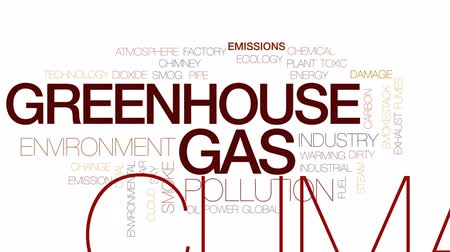 дымоход : Greenhouse gas animated word cloud, text design animation. Kinetic typography. Стоковые видеозаписи