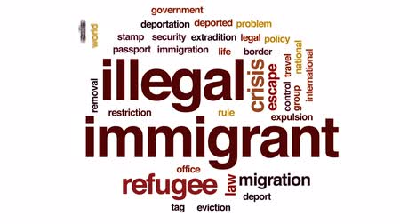 refugee crisis : Illegal immigrant animated word cloud, text design animation.