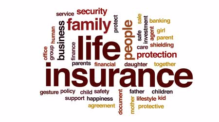 bezpieczeństwo : Life insurance animated word cloud, text design animation.
