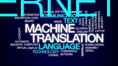 serial : Machine translation animated word cloud, text design animation.
