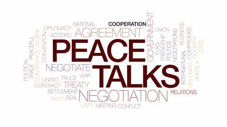 meeting negotiate : Peace talks animated word cloud, text design animation. Kinetic typography. Stock Footage