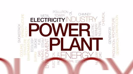 tesisler : Power plant animated word cloud, text design animation. Kinetic typography. Stok Video