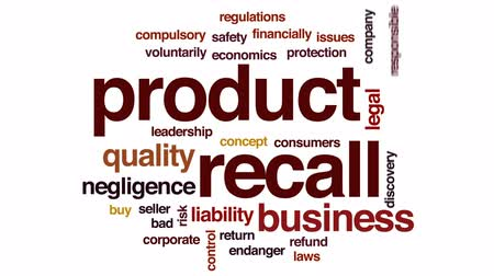 penas : Product recall animated word cloud, text design animation. Stock Footage