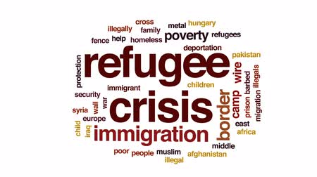 migração : Refugee crisis animated word cloud, text design animation.