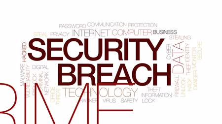 vulnerability : Security breach animated word cloud, text design animation. Kinetic typography. Stock Footage