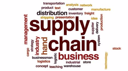 cadeia : Supply chain animated word cloud, text design animation.