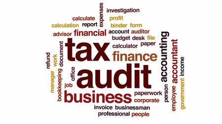 kalkulačka : Tax audit animated word cloud, text design animation.