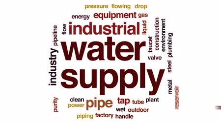 drinking water supply : Water supply animated word cloud, text design animation.
