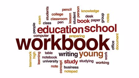 старшей школе : Workbook animated word cloud, text design animation. Стоковые видеозаписи