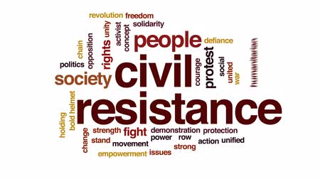birleşik : Civil resistance animated word cloud, text design animation.