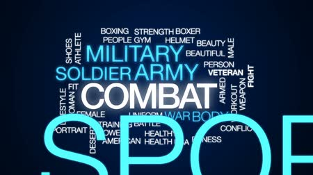 veterano : Combat animated word cloud, text design animation. Stock Footage