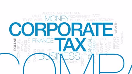 benefício : Corporate tax animated word cloud, text design animation. Kinetic typography. Stock Footage
