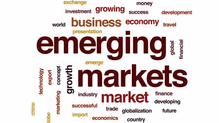 ithalat : Emerging markets animated word cloud, text design animation. Stok Video