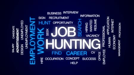 career success : Job hunting animated word cloud, text design animation. Stock Footage