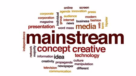 mainstream : Mainstream animated word cloud, text design animation.