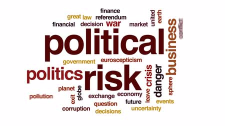 incerteza : Political risk animated word cloud, text design animation.