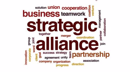 coalition : Strategic alliance animated word cloud, text design animation. Stock Footage