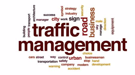 stoplight : Traffic management animated word cloud, text design animation. Stock Footage
