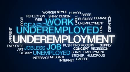 jobless : Underemployment animated word cloud, text design animation. Stock Footage